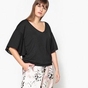 T-shirt lisa com decote em V, mangas curtas CASTALUNA