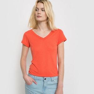 T-shirt z lnu i wiskozy La Redoute Collections