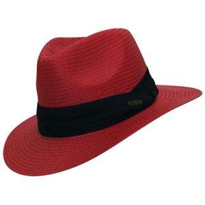 Chapeau rouge style panama ruban noir CHAPEAU-TENDANCE