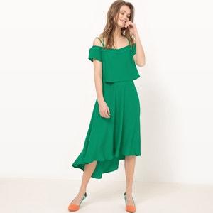 Półdługa sukienka na uroczyste okazje, cienkie ramiączka MADEMOISELLE R