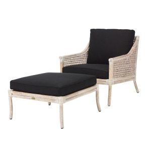 Fauteuil et repose pied BILBAO rotin blanc et coussin noir - Rotin Design ROTIN DESIGN