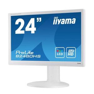 Ecran iiyama 23.6 LED - ProLite B2480HS-W2 - 1920 x 1080 pixels - 5 ms - Format large 16/9 - Pivot - HDMI - Blanc IIYAMA