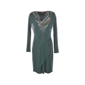 Satin Dress with Fringed Scarf Effect RENE DERHY
