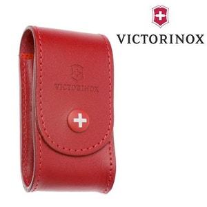 Etui Cuir Rouge Victorinox - pour Couteau Suisse Modeles Swisschamp - Handyman - CyberTool VICTORINOX
