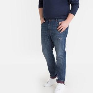 Regular jeans, grote maat, contrasterende omslag