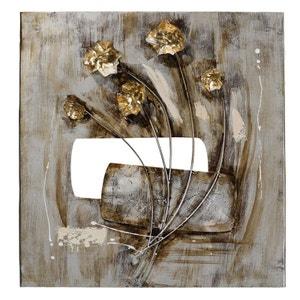 Tableau fleurs en relief 58x60 peinture sur métal PIER IMPORT