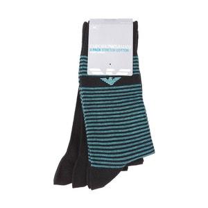 Lot de 3 paires de chaussettes Emporio Armani en coton mélangé noir et noir à rayures bleu turquoise EMPORIO ARMANI