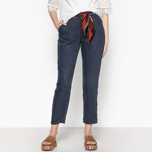 Pantaloni dritti in lyocell, cintura foulard LABDIP