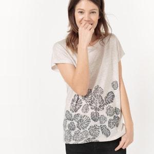 T-shirt w liście z lnu, okrągły dekolt R studio