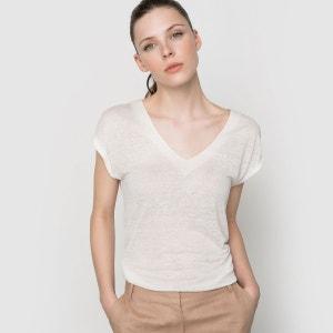 T-shirt en lin col V La Redoute Collections