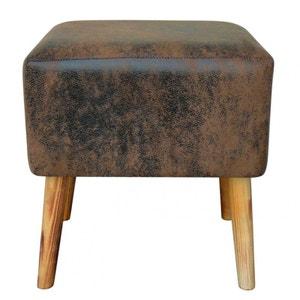 Tabouret Pouf rectangle PU choco effet cuir vieilli et pieds bois 39x31x42cm PIER IMPORT