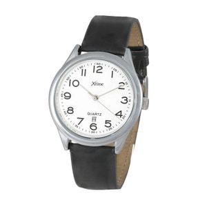 Montre homme bracelet cuir noir avec dateur XTH009-502 XTIME