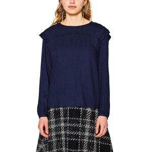Langärmelige, gerade Bluse, runder Ausschnitt, unifarben ESPRIT
