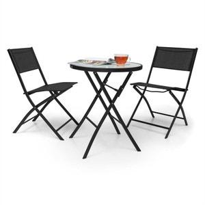 Blumfeldt Set meubles de jardin 3 pièces :2 chaises & table verre avec LED -noir BLUMFELDT
