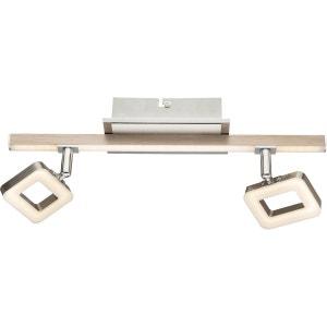 Réglette 2 spots orientables Led SALLOA argentée en métal et bois KERIA
