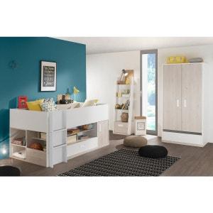 Chambre enfant avec lit combiné blanc et effet pin blanchi 90x200 CE5007 TERRE DE NUIT