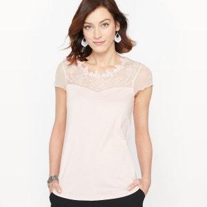 T-shirt guipure et résille brodée ANNE WEYBURN