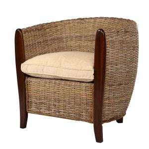 Fauteuil Sidney - Kubu - couleur Sable et coussin Crème - fauteuil détente ROTIN DESIGN
