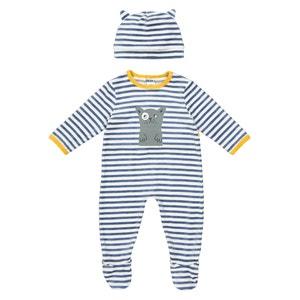 Pijama a rayas con automáticos + borro, 0 meses - 3 años La Redoute Collections