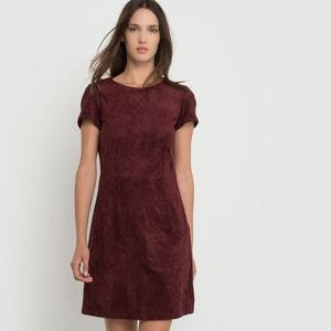Kleid, kurze Ärmel, Wildlederoptik ESPRIT