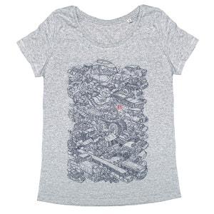 Tee-shirt femme en coton bio gris Passion Voitures MONSIEUR POULET