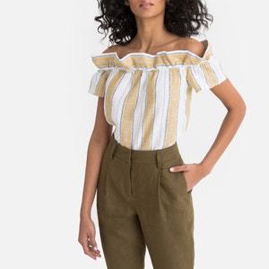Gestreepte blouse in linnen, wijde hals