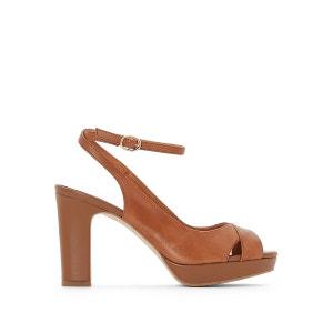 Sandales cuir plateforme brides croisées La Redoute Collections