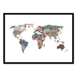 Affiche art 50x70 cm Carte du monde motifs fleurs WALL EDITIONS