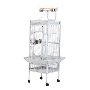 Grande volière cage à oiseaux en acier 4 roulettes perchoir mangeoire 68 x 68 x 156cm blanc - Pawhut PAWHUT