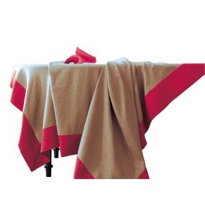 Nappe - lin déperlant - bicolore sable et rouge basque, brodée BLANC CERISE