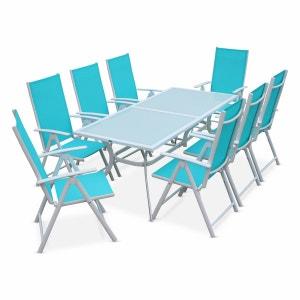 Salon de jardin en aluminium table 8 places Blanc textilène fauteuil turquoise ALICE S GARDEN
