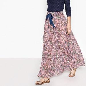 Heel lange wijduitlopende rok met bloemenprint SEE U SOON