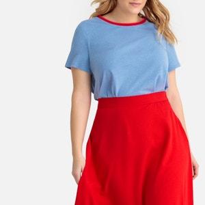T-shirt met contrasterende ronde hals en korte mouwen