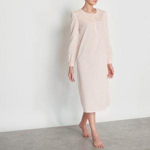 Camisa de dormir em voile de algodão bordado LOUISE MARNAY