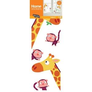 Sticker fenêtre enfant girafe et singe JARDINDECO