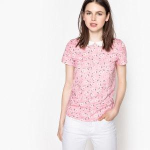 T-shirt imprimé, col claudine, manches courtes