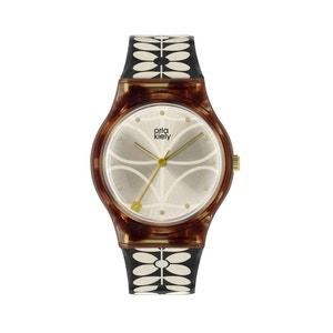 Ladies Black 60's Stem Print Strap Watch