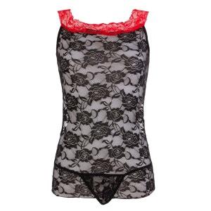 Nuisette robe moulante noir et rouge BELLE EN COLLANT