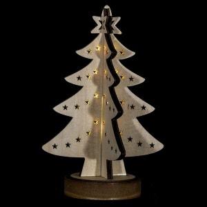 Sapin lumineux décoratif Noël - 21 x 28 cm - Blanc ATMOSPHERA