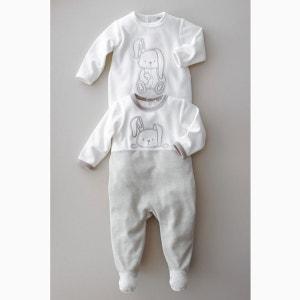Pyjama à pieds velours 0 mois-3 ans (lot de 2) R essentiel