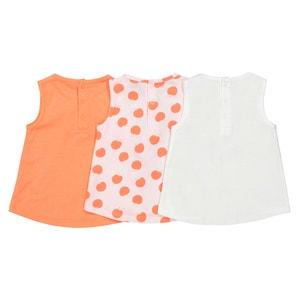 Lote de 3 camisetas sin manga estampadas 1 mes - 3 años Oeko Tex La Redoute Collections