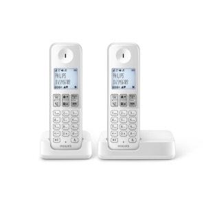Téléphone sans fil duo PHILIPS D2302W/FR Blanc PHILIPS
