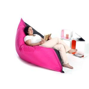 Pouf géant design polyester bicolore gris et rose BIG MILIBAG MILIBOO