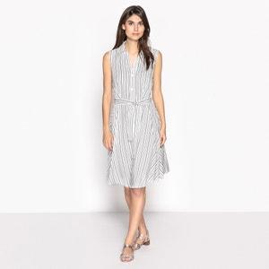 Платье расклешенное с рисунком в полоску, без рукавов ANNE WEYBURN