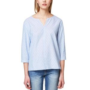 Langärmeliges Bluse, V-Ausschnitt, Tupfenmull ESPRIT