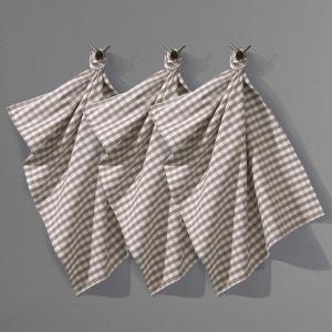 Lote de 3 panos de cozinha Vichy, puro algodão tecido-tingido, GARDEN PARTY La Redoute Interieurs