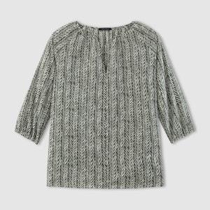 Bluse mit 3/4-Ärmeln, bedruckt, V-Ausschnitt MARC O'POLO