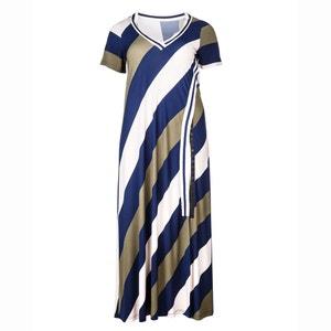 Short-Sleeved Striped Maxi Dress MAT FASHION