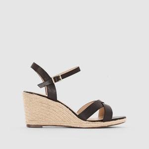 Wedge Heel Leather Espadrilles Sandals JONAK