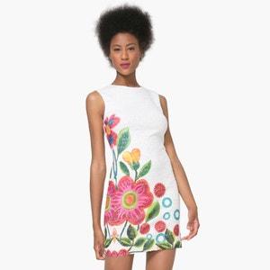 Vestido justo, sem mangas, estampado floral DESIGUAL
